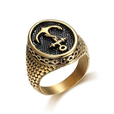 bague-pirate-ancre-or