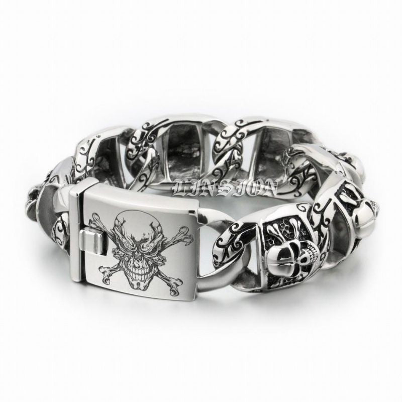 Bracelet Pirate - Trash Jolly Roger (Argent)