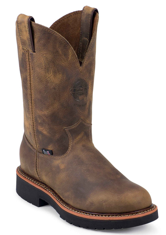 "Justin 4441 Men's Blueprint 11"" Tan Pull On Steel Toe Gaucho"