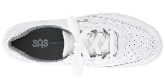 Sporty Lux White Perf Lace Up Sneaker