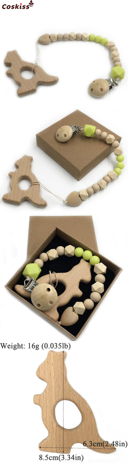 Baby Teether Organic Wooden Animal Teether