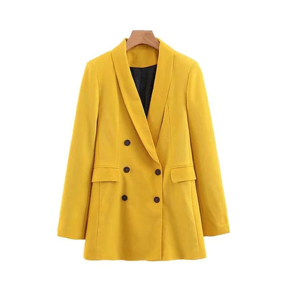 Women chic yellow blazer