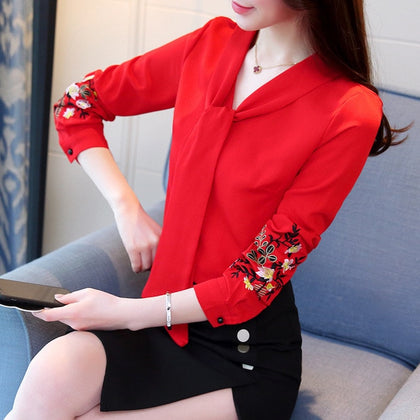 Long sleeve embroidery chiffon blouse