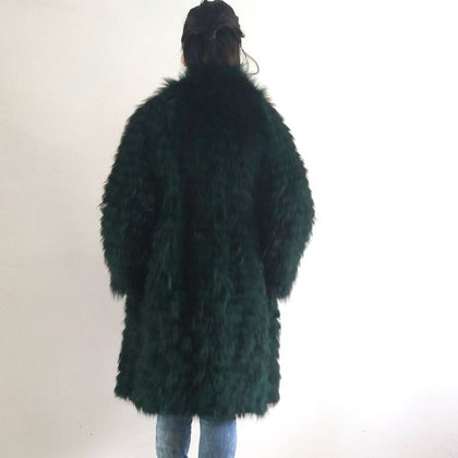 Real silver fox fur coat