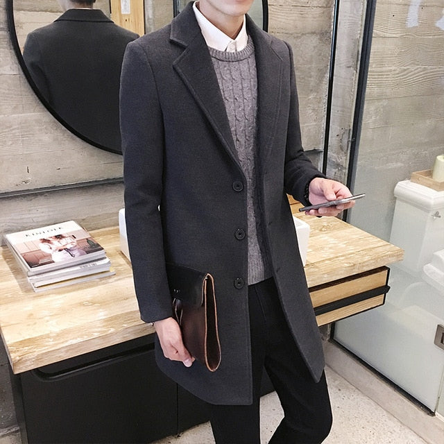 Winter Woolen Coat Men Leisure