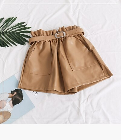 High Waist Elasticity Leather Shorts