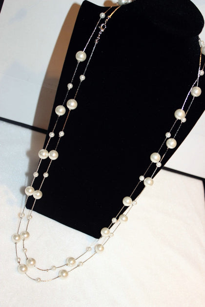 White Simulated Pearl Jewelry Multi-Layer