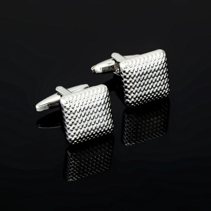 Luxury Fashion Laser Engraved Check  Cufflink