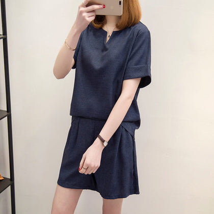 Casual Cotton Linen  Women Summer V-Neck