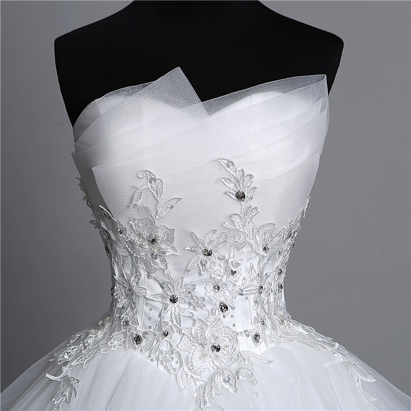 Appliques pearls White Wedding Dresses