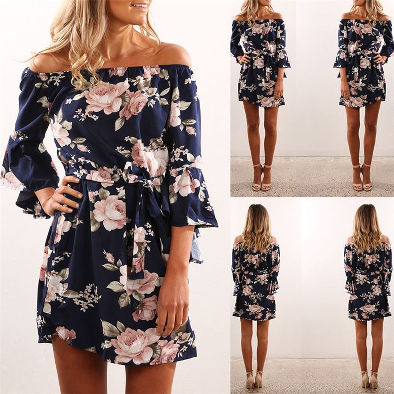 Women Dress Summer  Off Shoulder