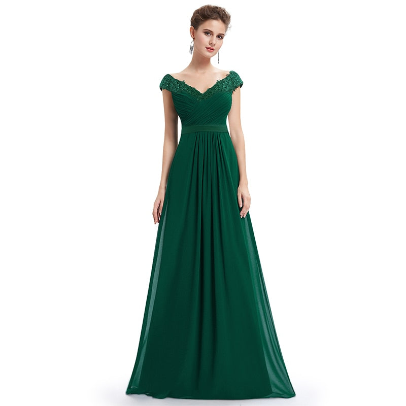 V Neck Appliques  Evening Dress
