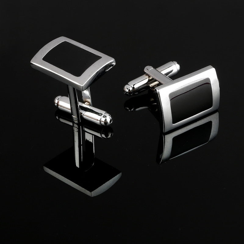 Simple Style Black Rectangle Cufflinks