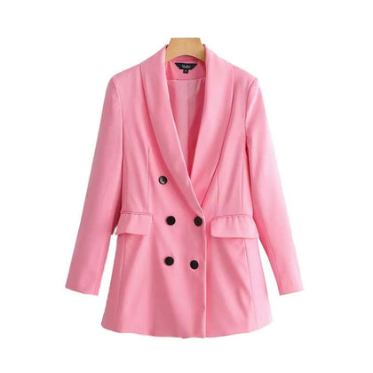 women stylish pink blazer