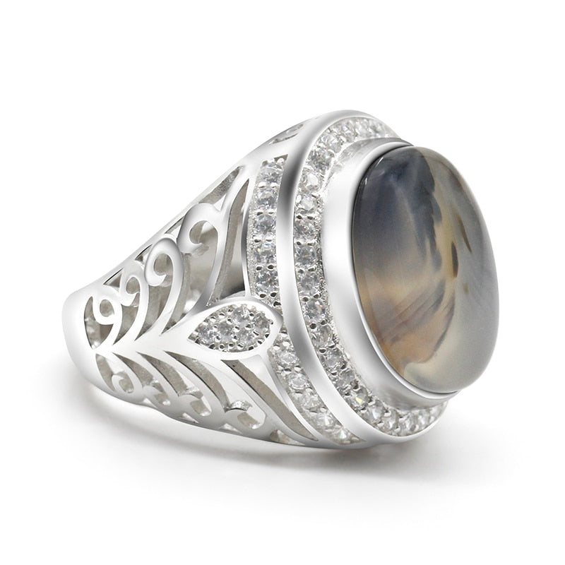 Sterling Silver Oval Nature Stone