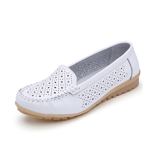 Leather Cutout Loafers Slip On Casual Shoes