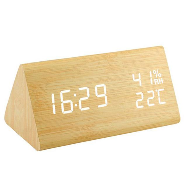 Alarm Clocks And Watches - Wooden LED Digital Clock With Date & Temperature Display