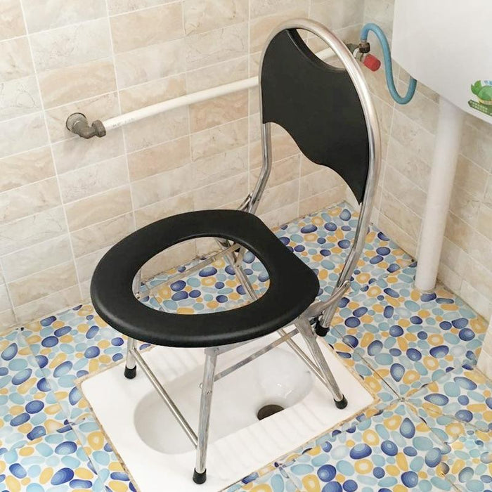 Bedside Commode - Padded And Foldable Seat Bedside Commode Chair