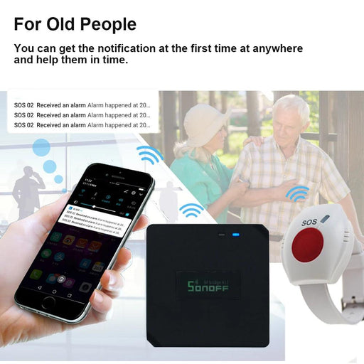 Emergency Sos Button - WIFI Panic Button Wireless Bracelet For The Elderly