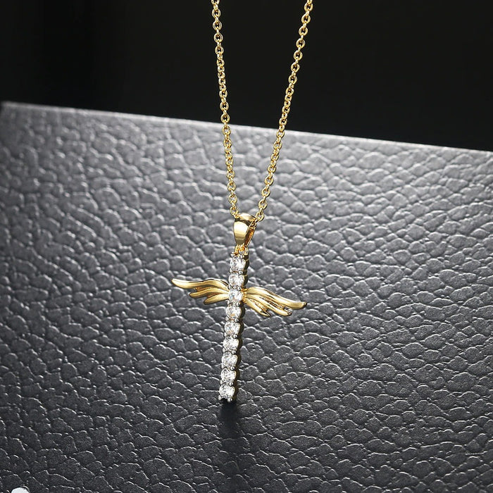 Zircon Adorned Angel Wings Cross Necklace
