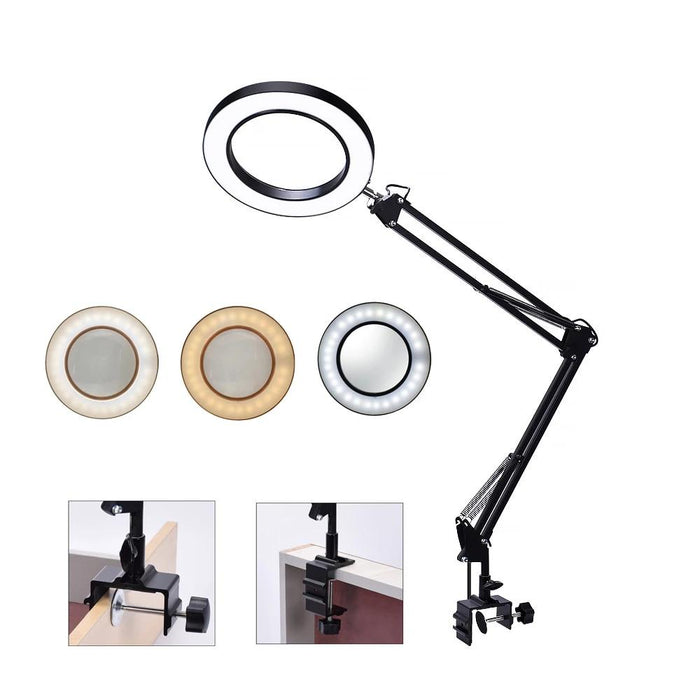 Reading Magnifying Glass - Flexible Table Clamp Magnifying Glass Lamp