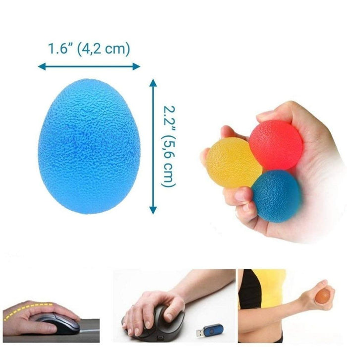 Rehabilitation Of The Hand - 3 Egg Balls And 3 Finger Stretcher Set