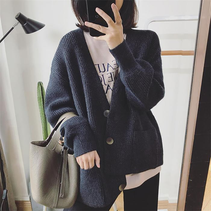Cozy Knitted V-Neck Cardigan Sweater