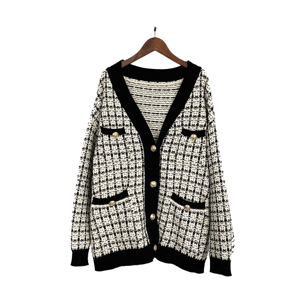 Checkered Knitted Cardigan