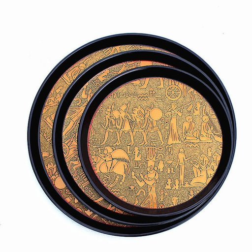 Serving Tray - Egyptian Design Round Serving Tray
