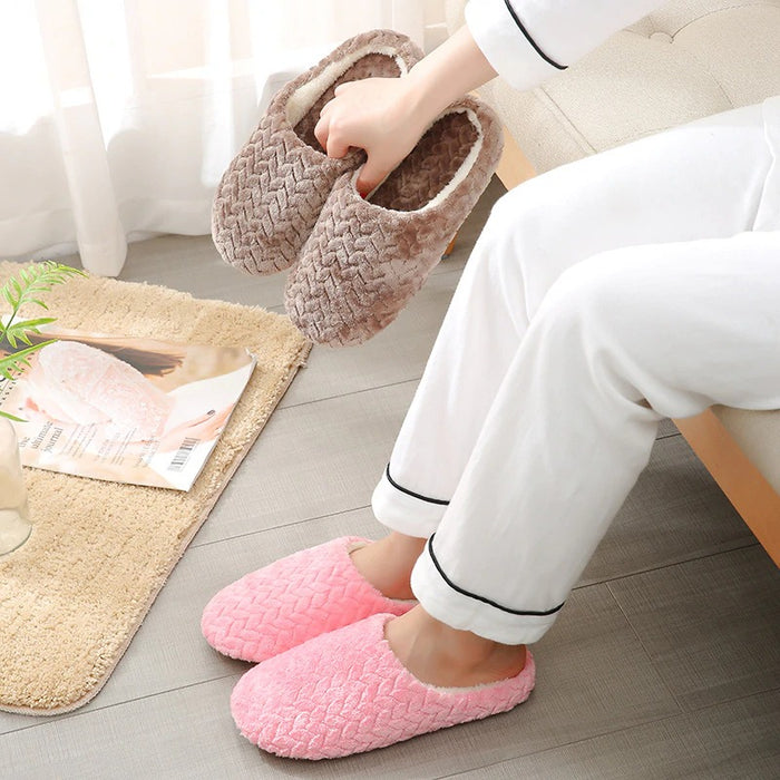 Winter Fashion Warm Plush Indoor Slippers