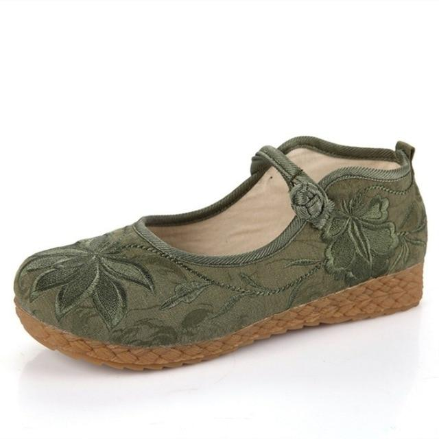 Womens Footwear - Embroidered Leisure Shoes