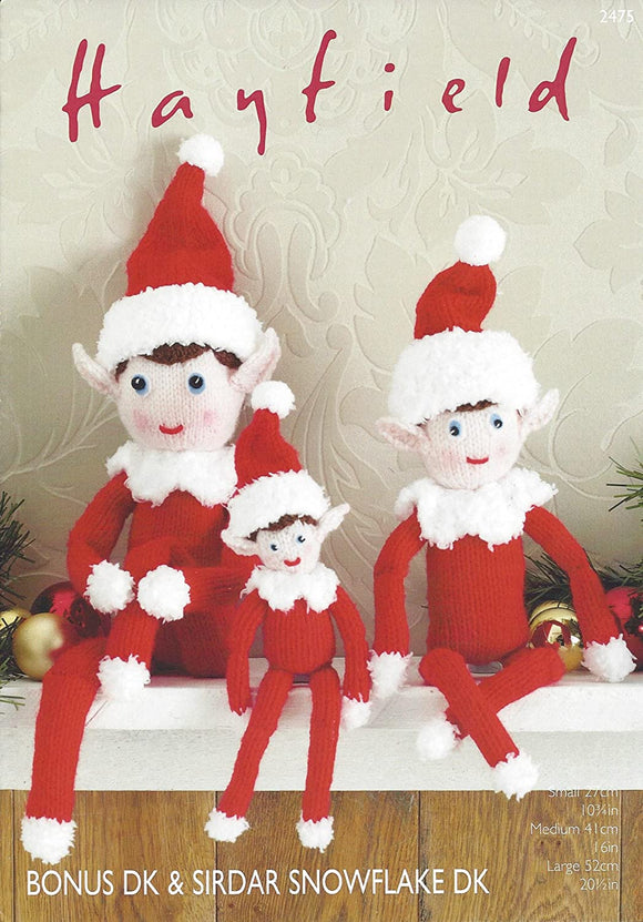 Sirdar/Hayfield Bonus DK & Snowflake DK Knitting Pattern - 2475 Christmas Elves Toy