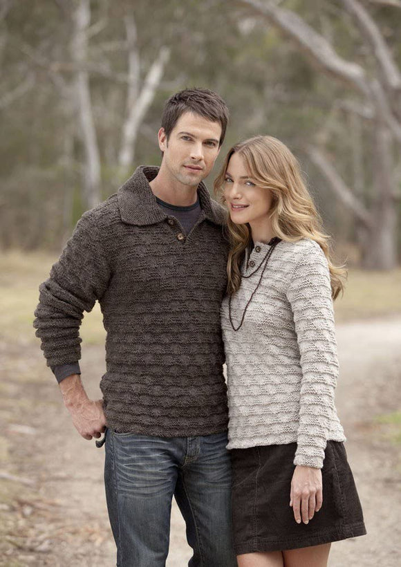 Patons Textured Jumpers For Her and For Him in Wool Blend Aran - 3740
