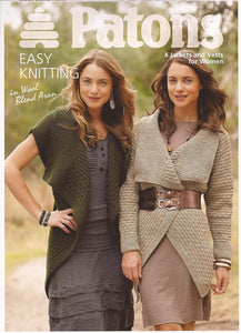 Patons Easy Jackets & Vests Aran Knitting Pattern Leaflet 3741