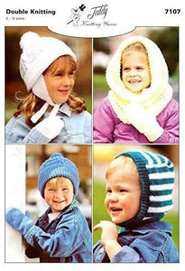 Teddy DK Knitting Pattern Childrens Hats & Mitts - 7107