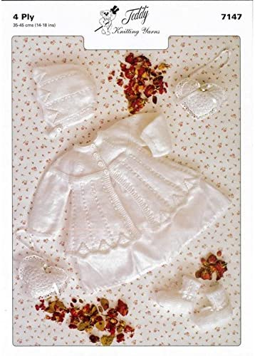 Baby Matinee Set 4 Ply Knitting Pattern 7147