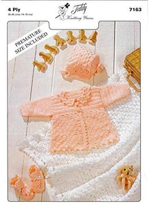 Teddy Yarns Baby Matinee Set 4 Ply Knitting Pattern 7163