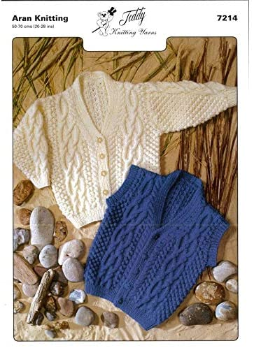 Teddy Yarns Aran Cable Cardigan Vest Knitting Pattern 7214