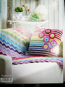 Stylecraft Life Double Knitting Pattern Crochet Cushion Cover Rug Bunting 9091