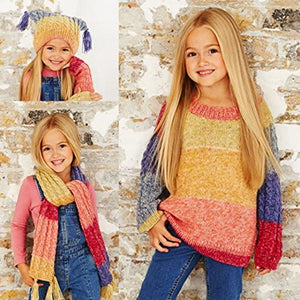 Stylecraft Girls Sweater, Scarf & Hat Batik Swirl Knitting Pattern 9484 DK