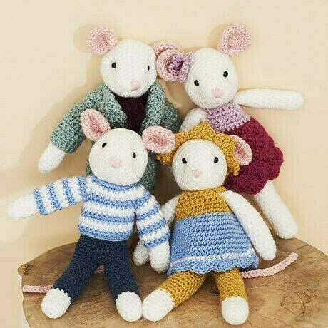 Click to open expanded view  Stylecraft Mice Family in Double Knitting Pattern 9664 - Mice in Bambino and Bellissima DK, One Size, 4 Crochet Designs