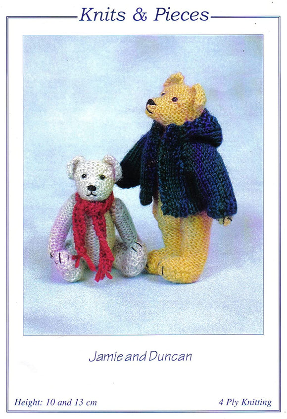 Jamie and Duncan Miniature Toy Teddy Bears Knitting Pattern 4 Ply