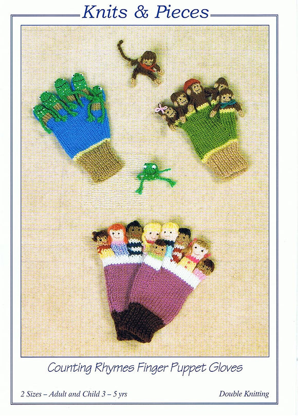 Counting Rhymes Finger Puppet Gloves Knitting Pattern DK