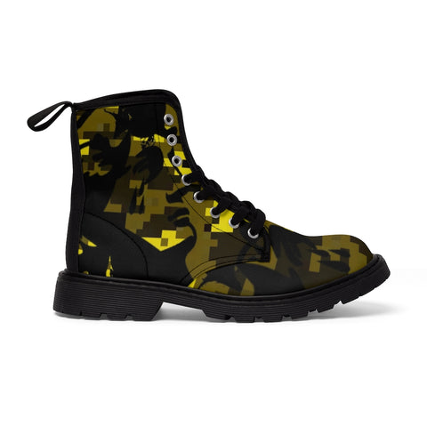 Yellow Camo Canvas Boots