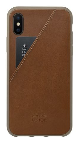 Native Union Clic Card Leather Pocket Case Tan for iPhone X