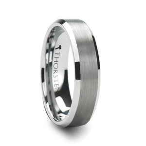 6 mm beveled tungsten ring with brushed center