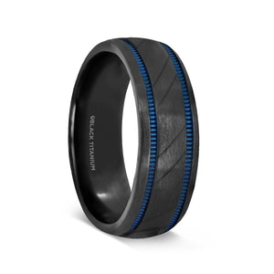 black titanium men's wedding ring with a carved diagonal pattern and blue milgrain grooves