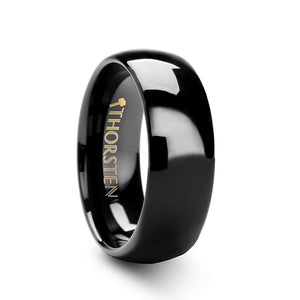 7 mm rounded black tungsten carbide ring