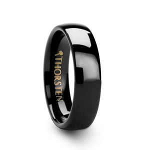 6 mm rounded black tungsten carbide ring