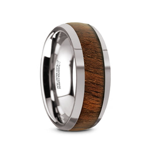 8 mm tungsten carbide domed men's ring with polished edges and a black walnut wood inlay